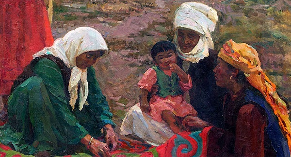 Carpet weavers. 1959, detail