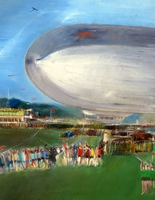 Detail of 'The first Soviet airship'. 1931