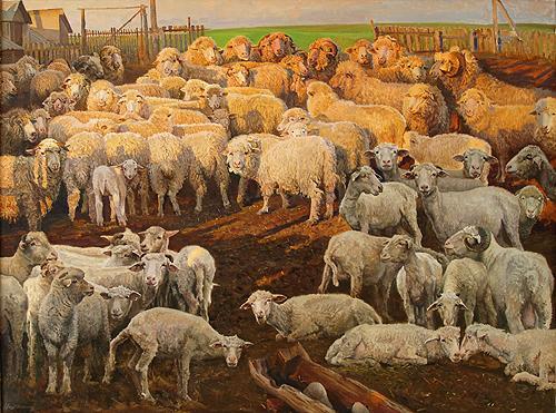 Evening in the sheep barn, 1989