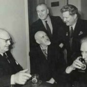 From left to right - P. Konchalovsky, K. Yuon, M. Saryan. Standing - A. Deineka, F. Bogorodsky. 1953