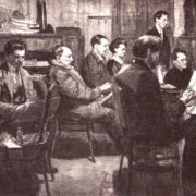 Group of artists in workshop of V. Savinsky. 1928