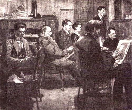 Group of artists in workshop of V. Savinsky. 1928