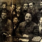 Newspaper article. Sergo Ordzhonikidze and Dusya Vinogradova in the center