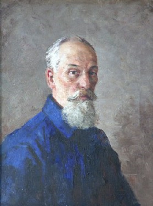 Old man in blue blouse
