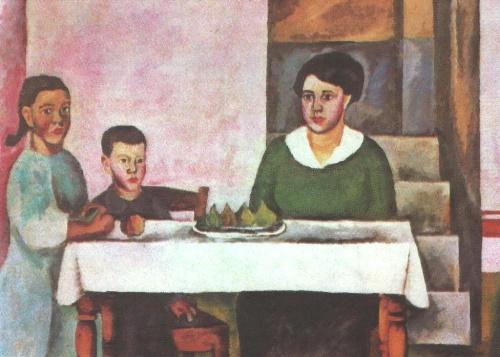 Family Portrait (Siena). Fragment. Oil. 1912