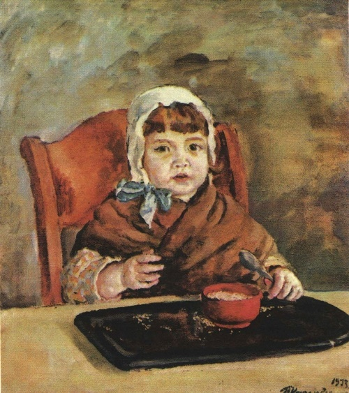Girl at the table. Oil. 1933