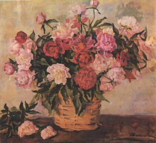 Peonies. Oil. 1936