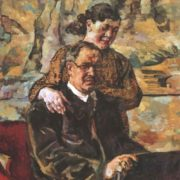 Self-portrait with his wife. Oil. 1928