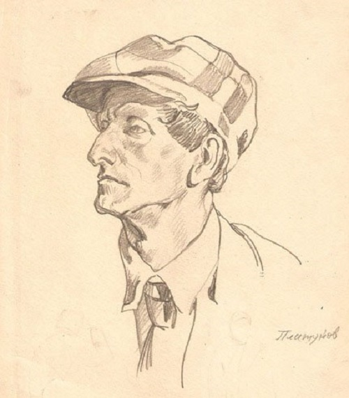 Pencil drawing. Self-portrait. 1956