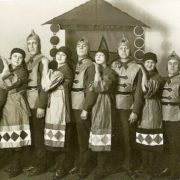 Performing actors of the theater Blue Blouse. Second from left - head of the group K.M. Kvitnitskaya. 1928