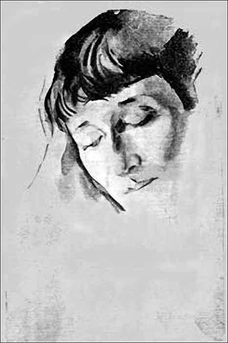 Portrait of AA Akhmatova. 1928 paper, Lampblack