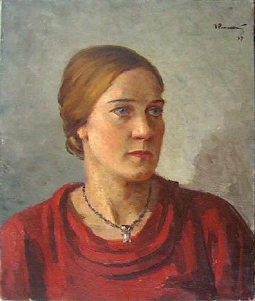 Portrait of woman in a red dress. 1937