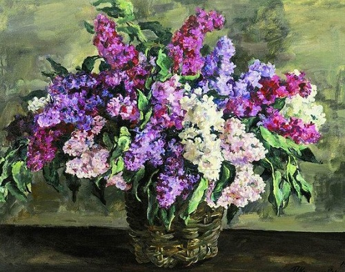 Still life. Lilacs in a basket (heroic). 1933
