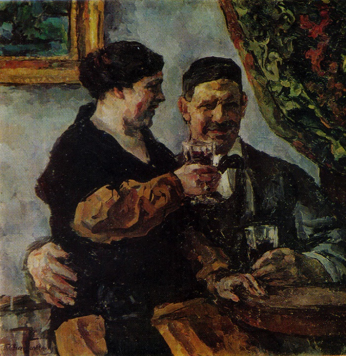 Self-portrait with wife. 1923. Tretyakov gallery