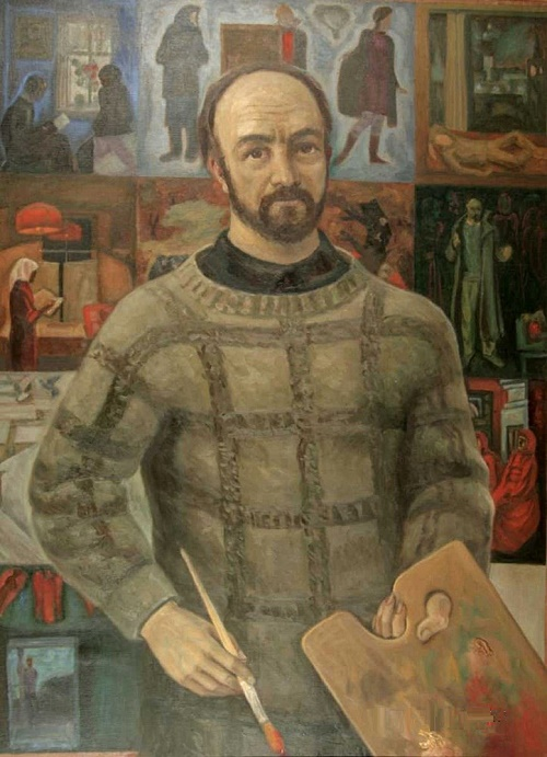 Sergey Nikiforov (1920-2005). 'From the life of Artist Viktor Popkov '. 1974