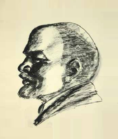 Sketch of portrait of VI Lenin in profile. The second half of the 1920s. Paper, ink, pen