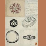 Sketches of badge and rings of Labor Hero. 1920. Paper, pencil, watercolor, ink, pen