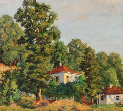 Summer landscape with houses