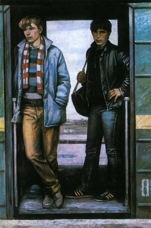 Teenagers in the train. Oil. 1986. The exhibition of creative workshops of the USSR Academy of Arts