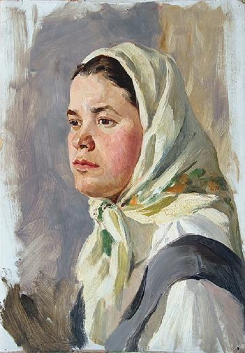 The head of a girl in a shawl 1975