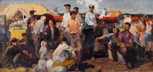 Group portrait of tractor drivers. 1964