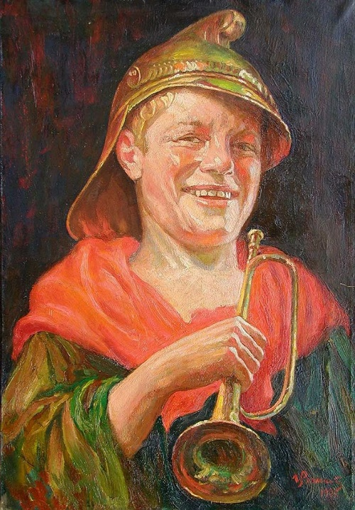 Young fireman, portrait, 1927