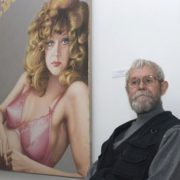 Arkady Petrov next to his creation - portrait of Soviet-Russian pop singer Alla Pugacheva