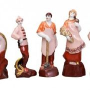 Chess set Red and white soldiers. Petrograd-Leningrad porcelain factory, 1925