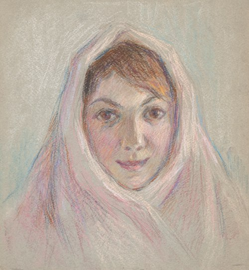 In a pink shawl
