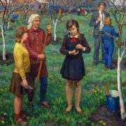 In the school yard. 1969. N. Baskakov