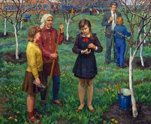 In the school yard. 1969. N. Baskakov