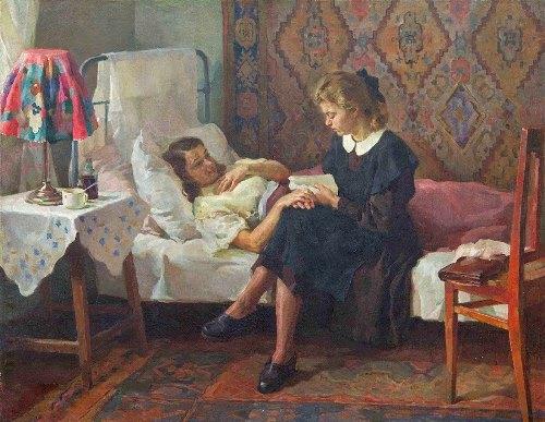Ivan Tikhiy (born 1927). At sick friend's. 1950s