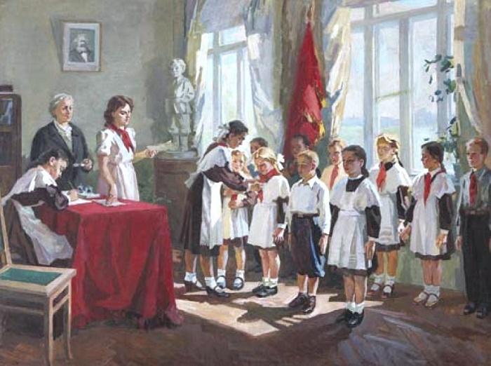 Lel Nikolayevich Kuzminkov. Award ceremeny with red pioneer scarf. 1968-1970