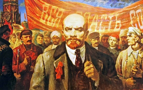 Soviet painter Mikhail Kornetsky. Lenin on subbotnik. Red square. 1986