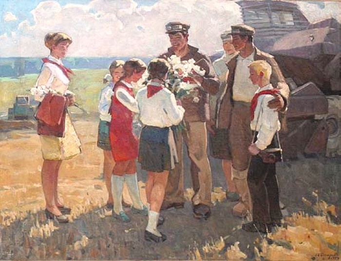 Leonid Bessaraba. Meeting of pioneers and mowers. 1974. Oil on canvas