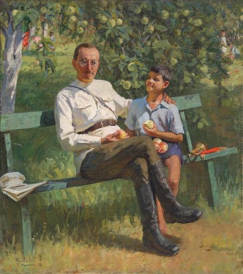 Makarenko with a pioneer. 1977. Artist P. Mishchenko