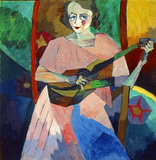 Portrait (Woman with a guitar). 1913. Oil on canvas. State Museum of Fine Arts of the Republic of Tatarstan, Kazan