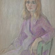 Portrait of a girl in a purple dress