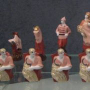 Red and White Army. Soviet porcelain chess detail
