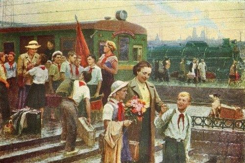 Returning from pioneer camp. 1954. Yuri Vasilyev (1925-1990)