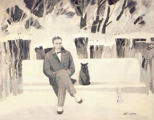 Russian mystic writer Mikhail Bulgakov and a black cat