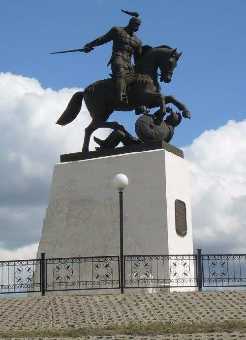 Svyatoslav Igorevich Statue on horseback with defeated enemy. (Sculptor Vyacheslav Klykov). The monument installed in 2005, in the village of Holki of Belgorod region