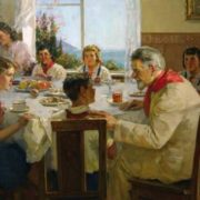 Talk at the tea table. 1956. K. Prokhorov