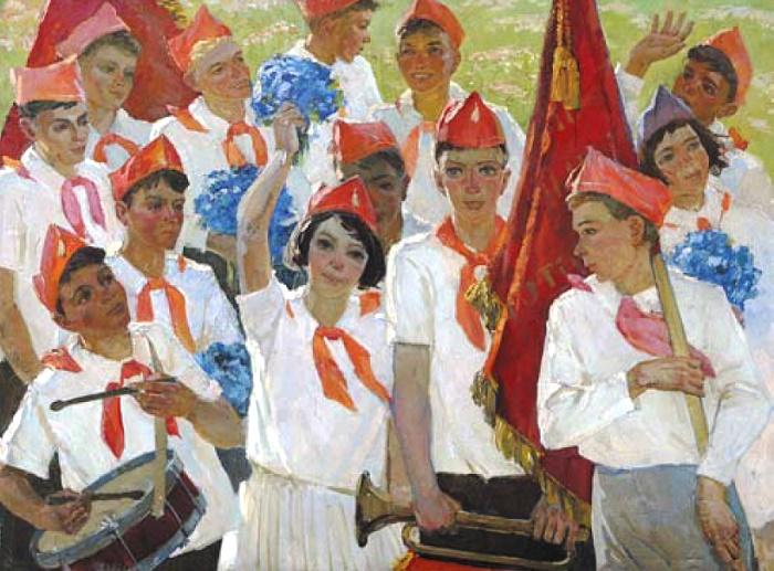 Tamara Danilenko (1937). Pioneers in Artek. 1970s. Oil on canvas