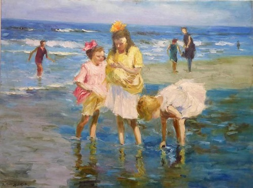 Three little girls at the beach
