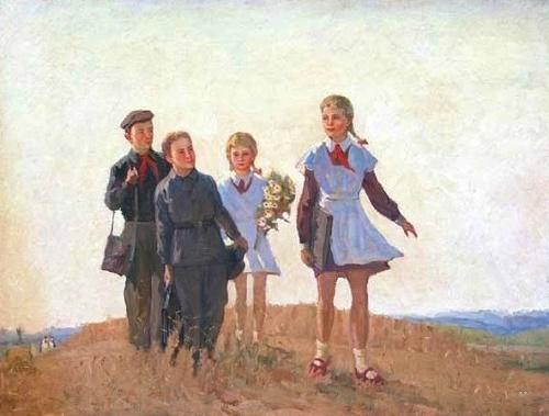 To school. 1954. Sergey Dunchev (1916-2004)