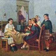 Visiting sick friend. 1955. Alexandr Kirchanov (1919-1987)