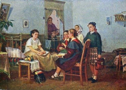 Visiting sick friend. 1955. Alexandr Kirchanov (1919-1987)