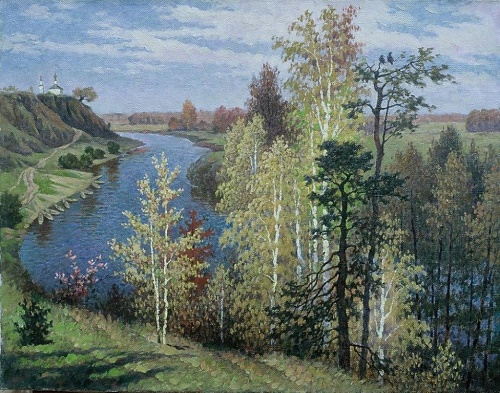 Soviet painter and graphic artist Vasily Losev. Voronezh region. Landscape at the river