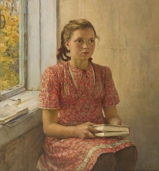 A girl with a book. 1950